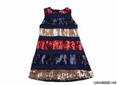 Şeritli Pullu Payetli Kız Çocuk Elbise