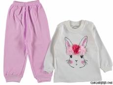 Çiçekli Tavşan Penye Bebek Pijama Takımı