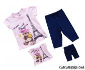 Oyuncak Bebek Kıyafetiyle Aynı Model Kız Taytlı Takım