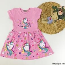 Unicorn Baskılı Penye Kız Çocuk Elbise