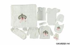 Kraliçe Taşlı Triko Battaniyeli 11'li Zıbın Seti
