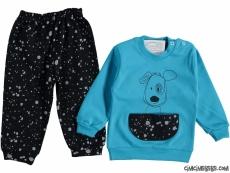 Kanguru Cepli Erkek Bebek Pijama Takımı