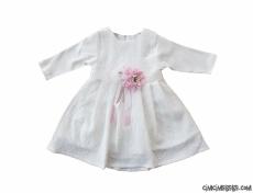 Çiçek Kemerli Kız Çocuk Elbise