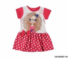Çiçekli Fiyonklu Kız Çocuk Elbise