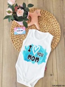 I Love Mom Askılı Bebek Badi