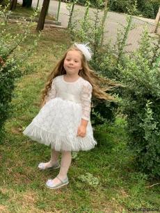Dantelli Tokalı Kız Çocuk Elbise