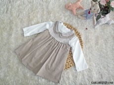 Bebe Yaka Fitilli Kadife Elbise