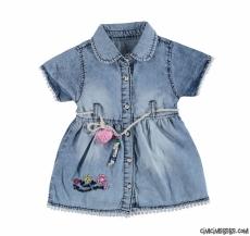 Kız Bebek Çiçek Nakışlı Kot Elbise