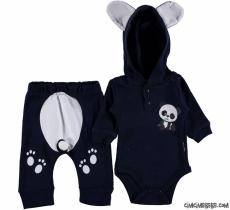 Panda Kapşonlu Erkek Bebek Takım