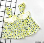 Kanatlı Limon Desenli Bebek Elbise