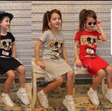 Kız Çocuk Fareli Penye Elbise