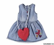 Kalpli Çantalı Kız Bebek Kot Elbise