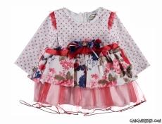 Kadife Çiçekli Kız Bebek Elbisesi