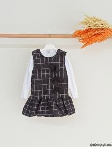 Fiyonklu Kışlık Kız Çocuk Elbise