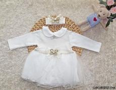 Kız Bebek Bandanalı Tüllü Gelinlik