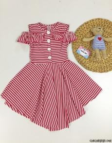 Çizgili Asimetrik Kız Çocuk Elbise