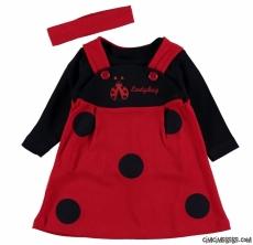 Uğur Böceği Motifli Bandanalı Badili Elbise