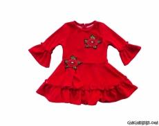 Nakışlı Fırfırlı Kadife Elbise