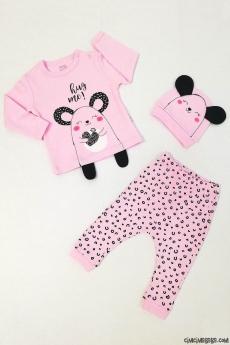 Fare Desenli Şapkalı Bebek Pijama Takımı