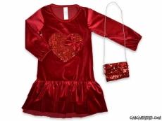 Pullu Çantalı Kadife Kız Çocuk Elbise