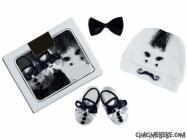 Bıyıklı Şapka-Papyon-Patik Set