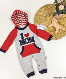 I Love Mom Kapşonlu Bebek Tulum