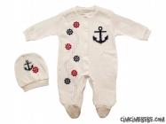 Denizci Taşlı Penye Bebe Tulum