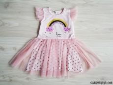 Gökkuşağı Kız Çocuk Tüllü Elbise