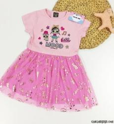 Sürpriz Tüllü Kız Çocuk Elbise