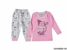 Minik Pisicik Kız Çocuk Pijama Takımı