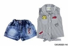 Kot Şortlu Gömlekli Cool Kız Takım