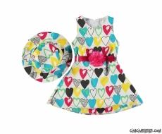 Kalpli Şapkalı Kız Çocuk Elbise