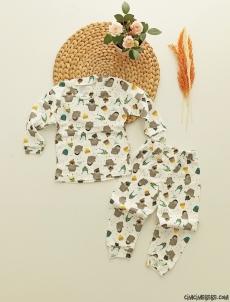 Şapkalı Penguen Kız Çocuk Pijama Takımı