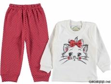 Fiyonklu Pisicik Bebek Pijama Takımı