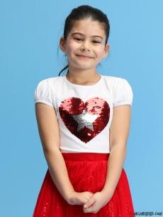 23 Nisan Payetli Kız Çocuk T-Shirt