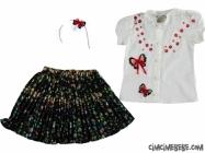 Kelebekli Taçlı Kız Elbise