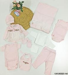 Kanaviçeli Kız Bebek 10 Parça Bebek Zıbın Seti