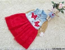 Kelebekli Tüllü Kız Çocuk Kot Elbise