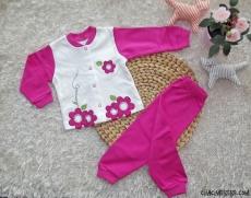 Çiçekli Kız Bebek Pijama Takımı