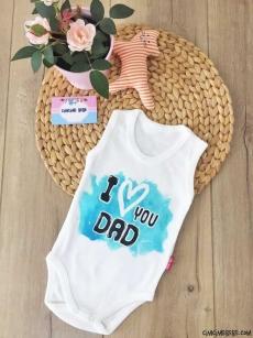 I Love Dad Askılı Bebek Badi