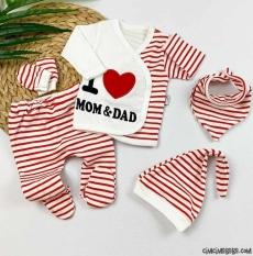 I Love Mom & Dad 5'li Zıbın Seti