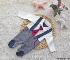 Kravatlı Erkek Bebek Slopet Tulum