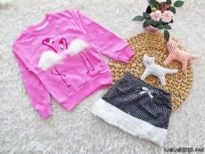 Tüylü Flamingo Etekli Takım