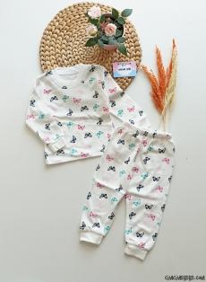 Kelebek Desenli Kız Bebek Pijama Takımı