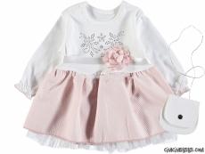 Çantalı Çiçek Detaylı Kız Bebek Elbise