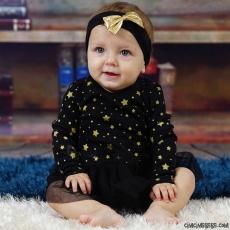 Yıldızlı Tütülü Bebek Badili Elbise