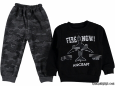 Uçak Baskılı İçi Polar Erkek Çocuk Takım