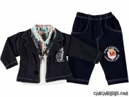 Ceketli Sahte Gömlekli 3'lü Bebe Takım
