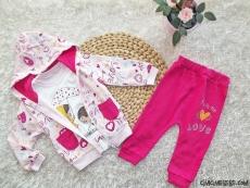 Love Kız Bebek Hırkalı 3'lü Takım