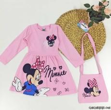 Çantalı Miki Kız Çocuk Elbise